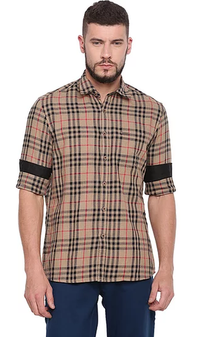 UNITED CLUB Men's Brown And Black Checkered Cotton Causal Shirt - club-16