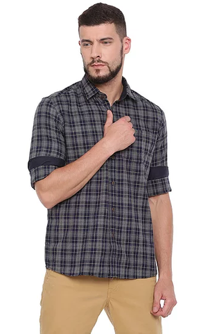 UNITED CLUB Men's Black Checkered Cotton Causal Shirt - club-17
