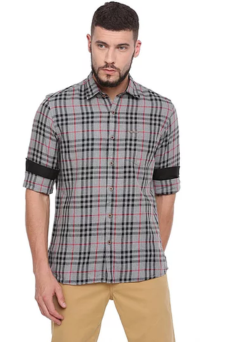 UNITED CLUB Men's Grey Checkered Cotton Causal Shirt - club-18