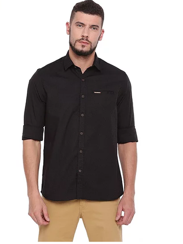UNITED CLUB Men's Black Plain Cotton Shirt - club-19