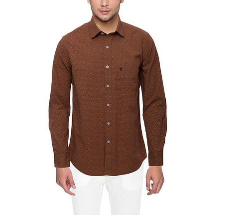 D'INDIAN CLUB Men's Rust Color Printed Satin Cotton Causal Shirt - club-1