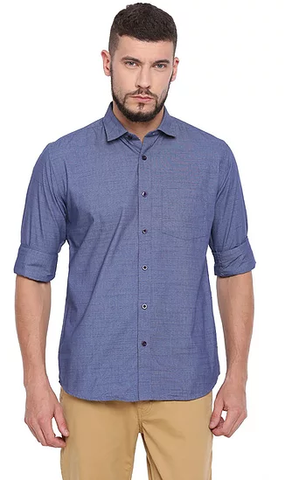 UNITED CLUB Men's Blue Plain Cotton Shirt - club-20