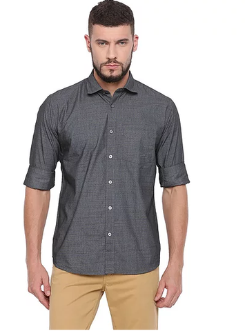 UNITED CLUB Men's Black Plain Cotton Shirt - club-21