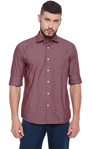 UNITED CLUB Men's Maroon Plain Cotton Shirt - club-22