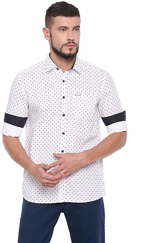 UNITED CLUB Men's White Printed Cotton Causal Shirt - club-23