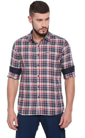 UNITED CLUB Men's Red Checkered Cotton Causal Shirt - club-25