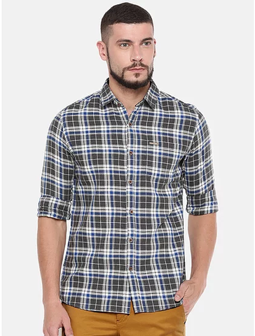 UNITED CLUB Men's Light Grey Checkered Cotton Causal Shirt - club-26
