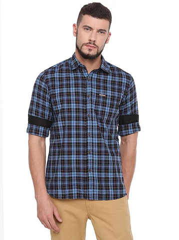 UNITED CLUB Men's Blue And Black Checkered Cotton Causal Shirt - club-27