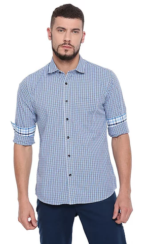 UNITED CLUB Men's Blue Checkered Cotton Causal Shirt - club-28
