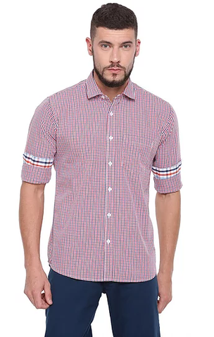 UNITED CLUB Men's Pink Checkered Cotton Causal Shirt - club-29