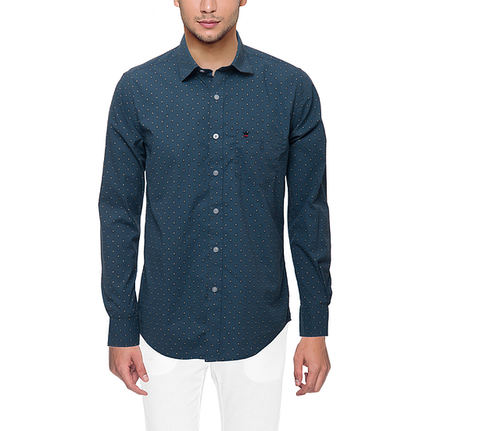 D'INDIAN CLUB Men's Blue Printed Cotton Causal Shirt - club-2
