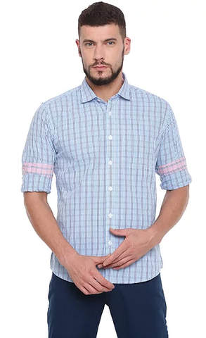 42d8e1c545d UNITED CLUB Men s Blue Checkered Cotton Causal Shirt - club-30