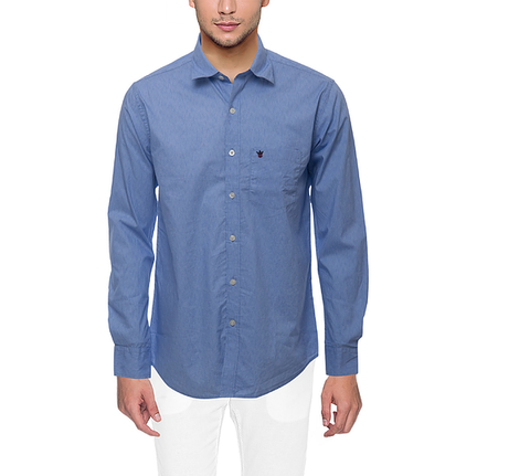 D'INDIAN CLUB Men's Blue Plain Cotton Causal Shirt - club-3
