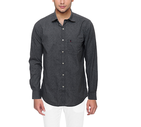 D'INDIAN CLUB Men's Dark Grey Plain Cotton Shirt - club-4