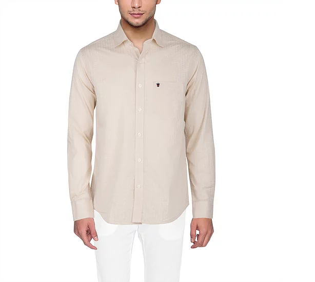Buy D'INDIAN CLUB Men's Biege Plain Cotton Causal Shirt