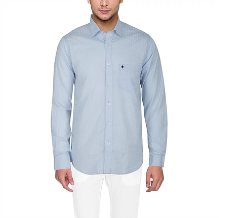 D'INDIAN CLUB Men's Blue Plain Cotton Causal Shirt - club-7