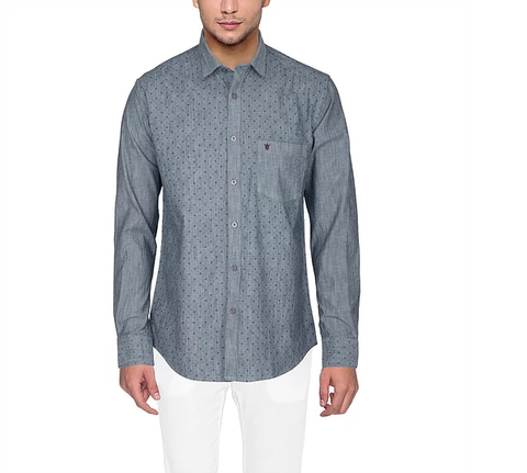 D'INDIAN CLUB Men's Grey Printed Cotton Causal Shirt - club-8