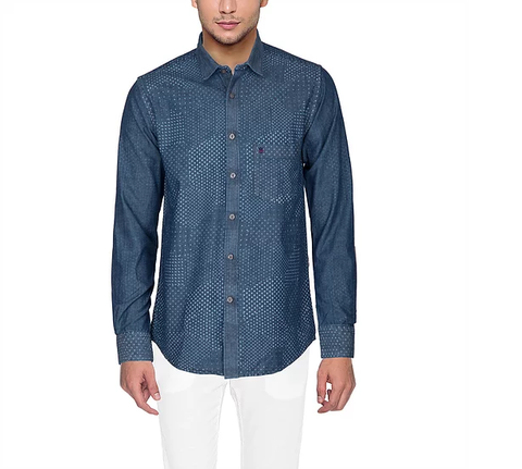 D'INDIAN CLUB Men's Blue Printed Cotton Causal Shirt - club-9