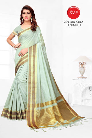 Aqua Sky Blue Color Cotton Silk Saree - CNCX01H