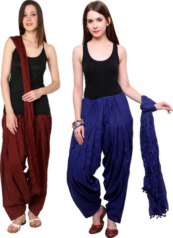 COMBOS - Coffeeblue Color Cotton Stitched Women Patiala Pants With Dupata - Coffeeblue