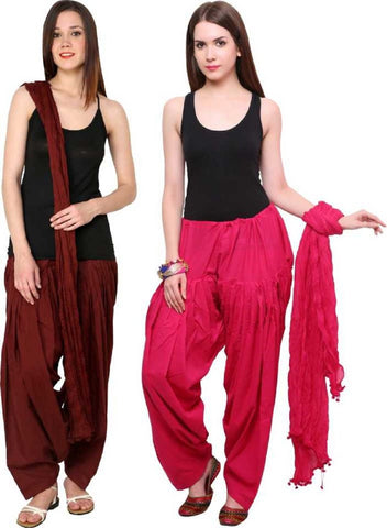 COMBOS - Coffeerani Color Cotton Stitched Women Patiala Pants With Dupata - Coffeerani