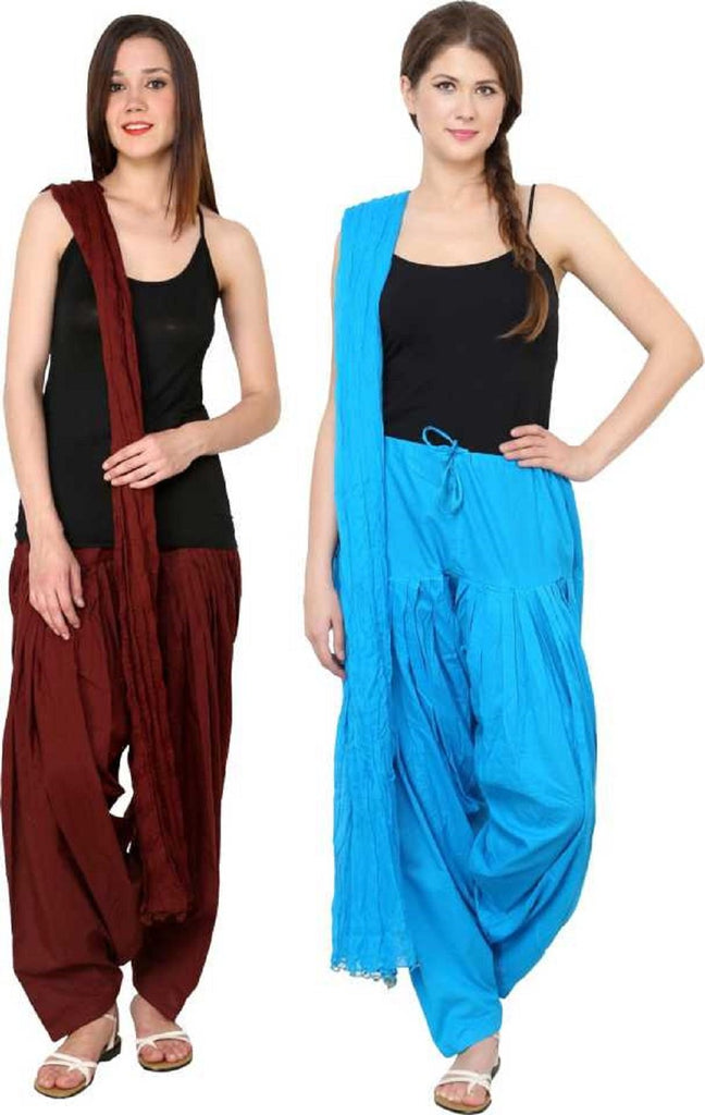 Buy COMBOS - Coffeetourquis Color Cotton Stitched Women Patiala Pants With Dupata