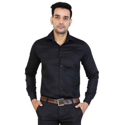 Black Color Cotton Men's Solid Shirts - collar-black