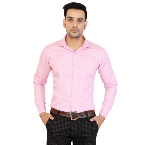 Pink Color Cotton Men's Solid Shirts - collar-pink