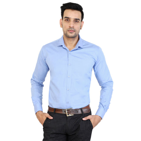 Sky Blue Color Cotton Men's Solid Shirts - collar-skyblue