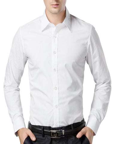 White Color Cotton Men's Solid Shirts - collar-white