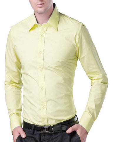 Yellow Color Cotton Men's Solid Shirts - collar-yellow