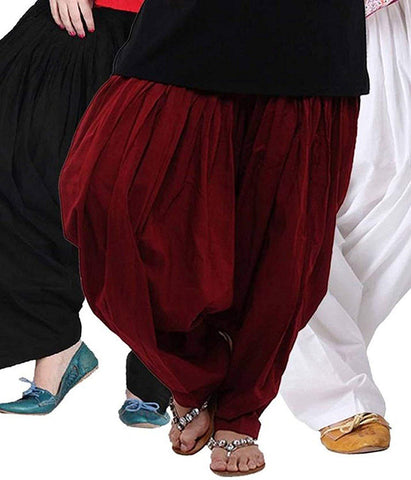 COMBOS  - Combo And Blk And Wht And Marroon Color Cotton Stitched Women Patiala Pants - combo_blk_wht_marroon