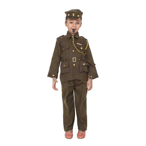 Dark Khaki Color Cotton Blend Fancy Costume Dress  - commando-1