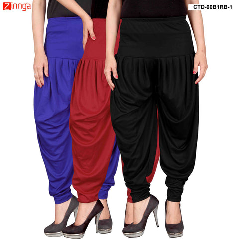 CULTURE THE DIGNITY-Women's Stylish CasualWear Lycra Patiala Pants(Pack Of 3) - ctd-00B1RB-1