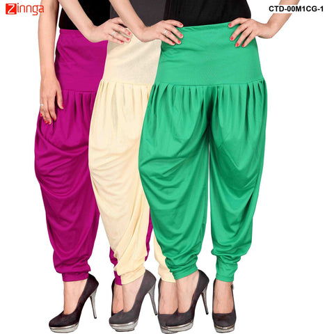 CULTURE THE DIGNITY-Women's Stylish CasualWear Lycra Patiala Pants(Pack Of 3) - ctd-00M1CG-1