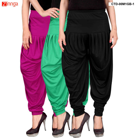 CULTURE THE DIGNITY-Women's Stylish CasualWear Lycra Patiala Pants(Pack Of 3) - ctd-00M1GB-1