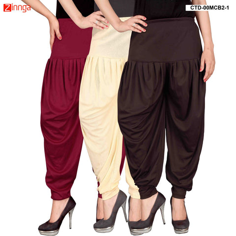 CULTURE THE DIGNITY-Women's Stylish CasualWear Lycra Patiala Pants(Pack Of 3) - ctd-00MCB2-1