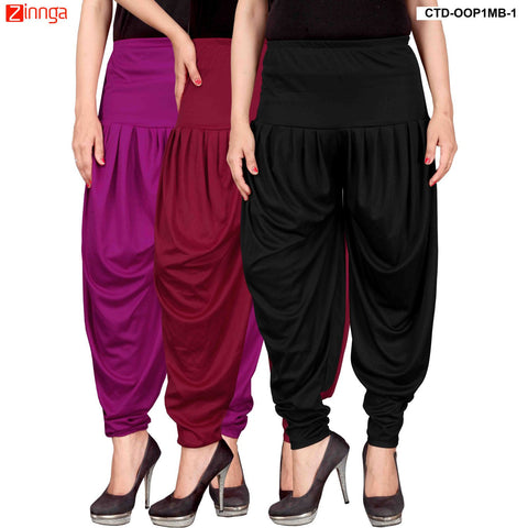 CULTURE THE DIGNITY-Women's Stylish CasualWear Lycra Patiala Pants(Pack Of 3) - ctd-00P1MB-1