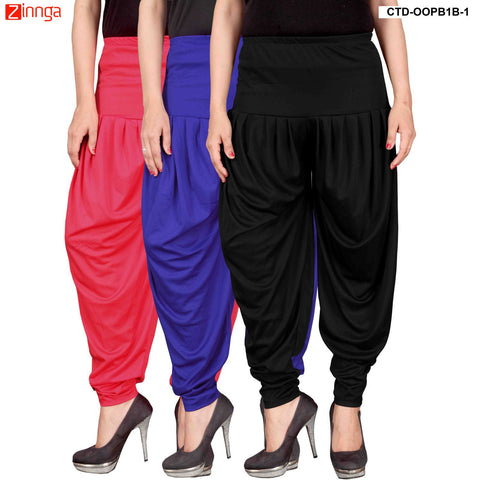 CULTURE THE DIGNITY-Women's Stylish CasualWear Lycra Patiala Pants(Pack Of 3) - ctd-00PB1B-1