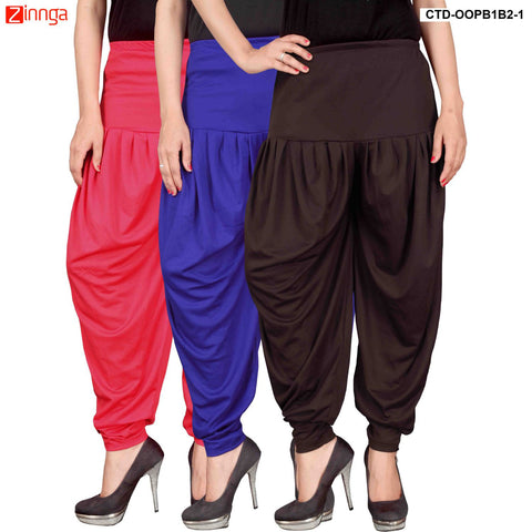 CULTURE THE DIGNITY-Women's Stylish CasualWear Lycra Patiala Pants(Pack Of 3) - ctd-00PB1B2-1