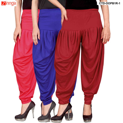 CULTURE THE DIGNITY-Women's Stylish CasualWear Lycra Patiala Pants(Pack Of 3) - ctd-00PB1R-1