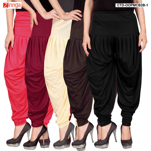 CULTURE THE DIGNITY-Women's Stylish CasualWear Lycra Patiala Pants(Pack Of 5) - ctd-00PMCB2B-1