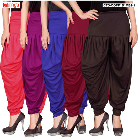 CULTURE THE DIGNITY-Women's Stylish CasualWear Lycra Patiala Pants(Pack Of 5) - ctd-00PP1B1MB2-1