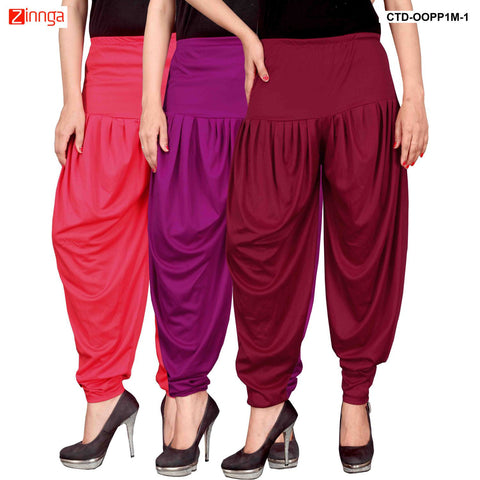 CULTURE THE DIGNITY-Women's Stylish CasualWear Lycra Patiala Pants(Pack Of 3) - ctd-00PP1M-1