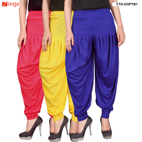 CULTURE THE DIGNITY-Women's Stylish CasualWear Lycra Patiala Pants(Pack Of 3) - ctd-00PYB1-1