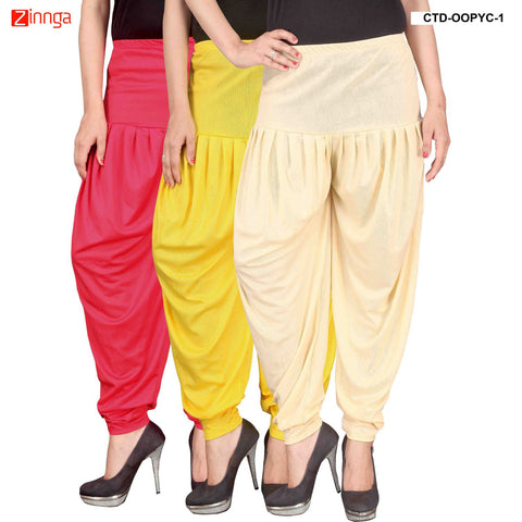 CULTURE THE DIGNITY-Women's Stylish CasualWear Lycra Patiala Pants(Pack Of 3) - ctd-00PYC-1
