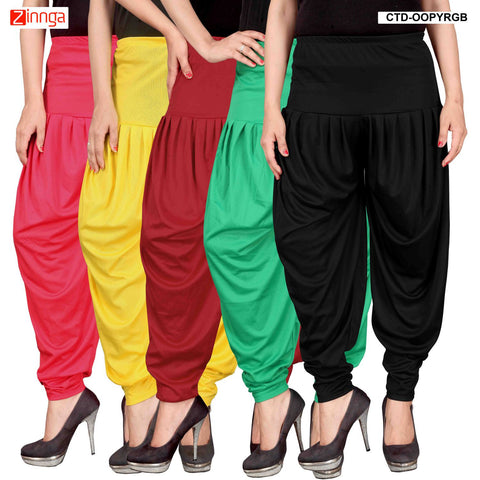 CULTURE THE DIGNITY-Women's Stylish CasualWear Lycra Patiala Pants(Pack Of 5) - ctd-00PYRGB-1