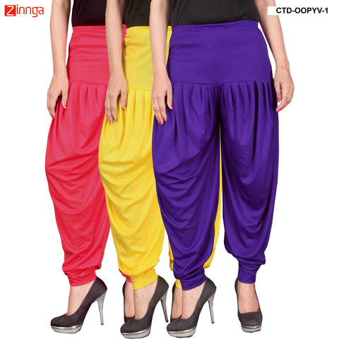 CULTURE THE DIGNITY-Women's Stylish CasualWear Lycra Patiala Pants(Pack Of 3) - ctd-00PYV-1