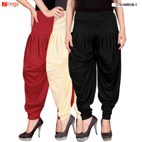 CULTURE THE DIGNITY-Women's Stylish CasualWear Lycra Patiala Pants(Pack Of 3) - ctd-00RCB-1