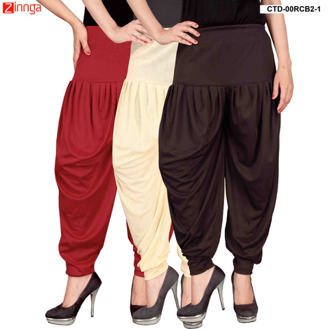 CULTURE THE DIGNITY-Women's Stylish CasualWear Lycra Patiala Pants(Pack Of 3) - ctd-00RCB2-1